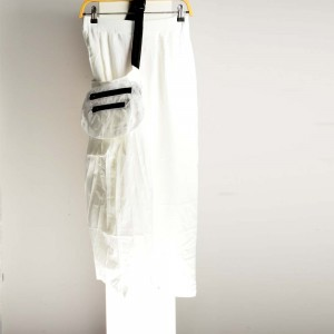 Plain Casual Pants With Tie Waist (White)