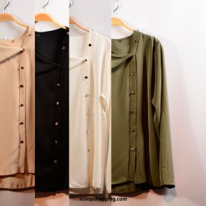 Soft blouse with dome movement buttons