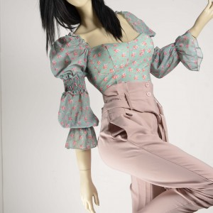 Back tie blouse with floral chiffon sleeves