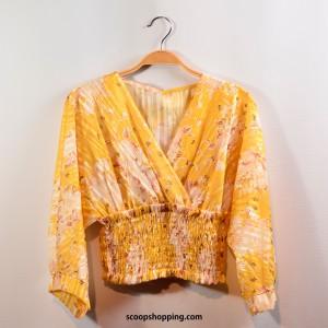 Croisette brocade satin blouse
