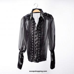 Chiffon blouse with cufflinks