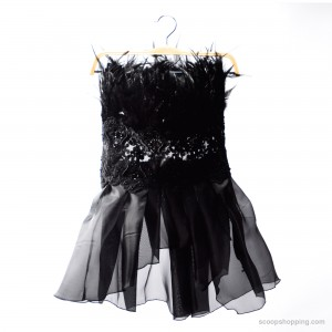 Tulle fluffy blouse with feathers on the chest