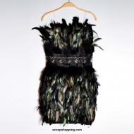 A black feather dress
