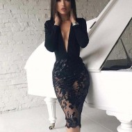 Dress Mid-sleeved Sexy