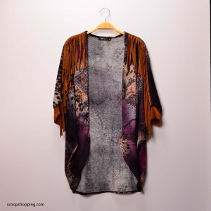 A colorful off-the-shoulder frill jacket